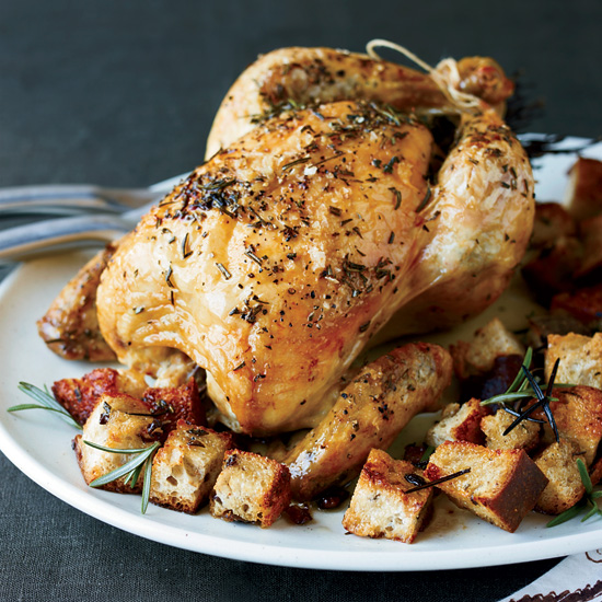 FWX BRINED ROAST CHICKEN WITH OLIVE BREAD PANZANELLA