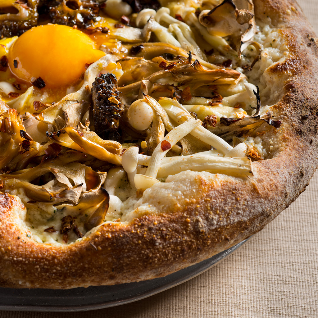 Mushroom and Fried Egg Pizza