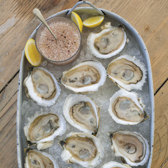 FWX OYSTERS ON THE HALF SHELL WITH ROSE MIGNONETTE