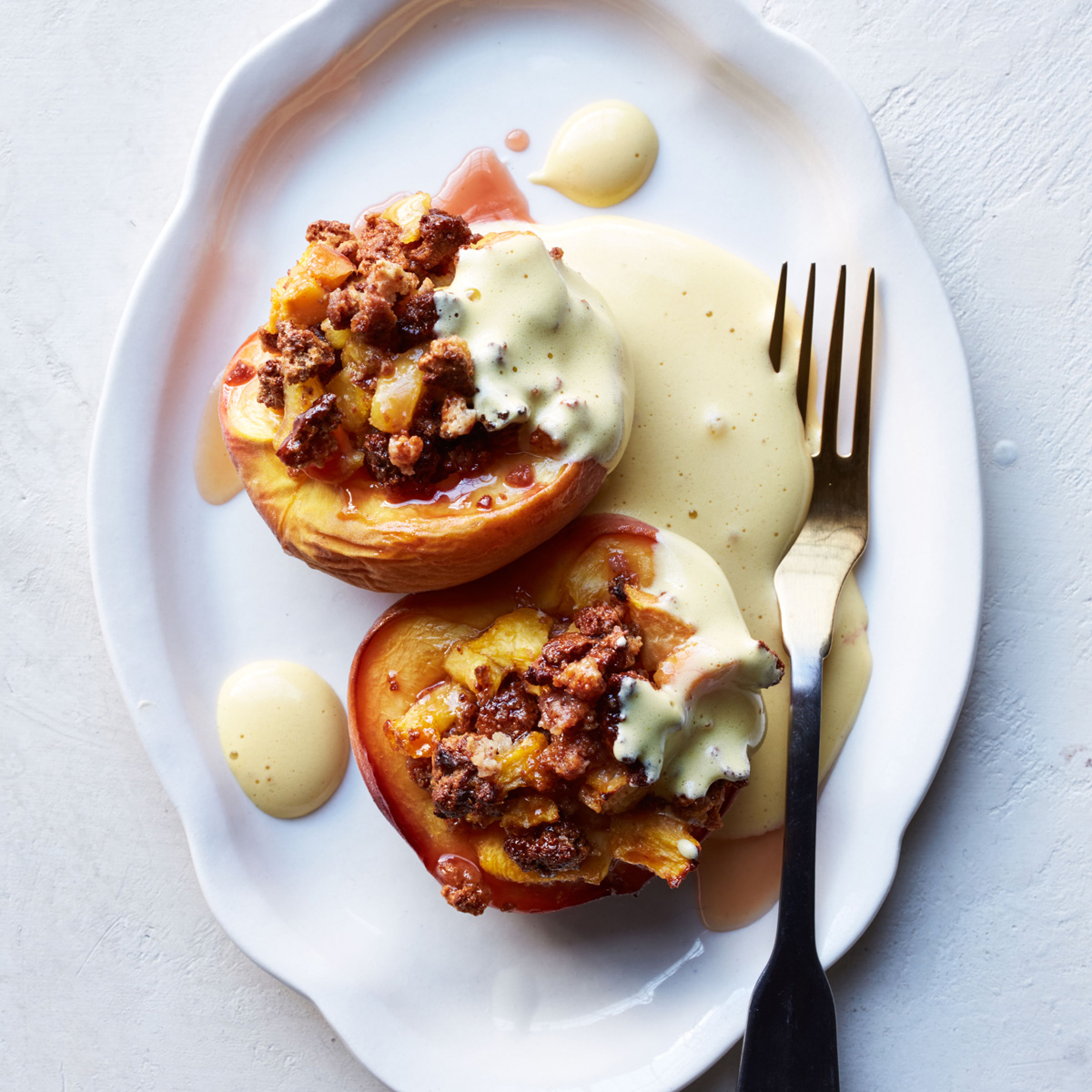 Baked Stuffed Peaches with Saffron Zabaglione