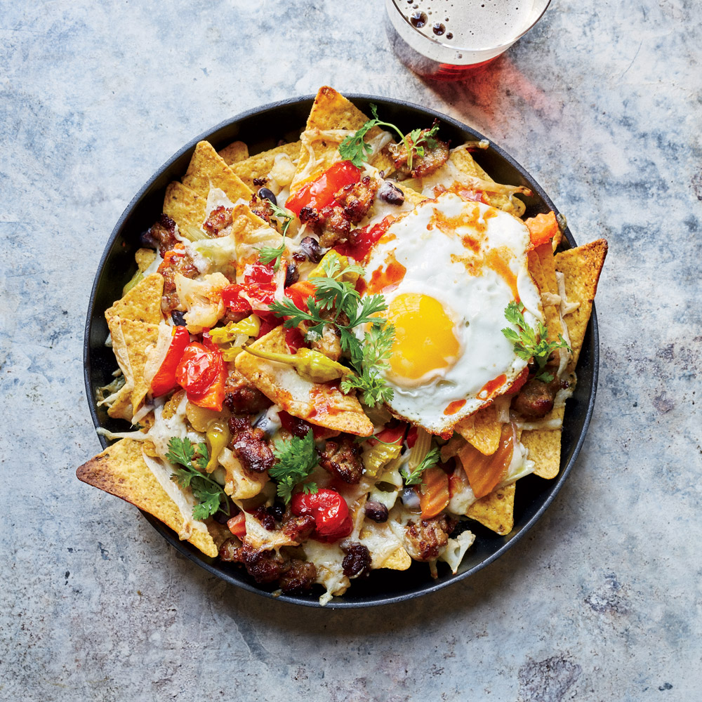 Cheesy Nachos with Fried Eggs and Giardiniera