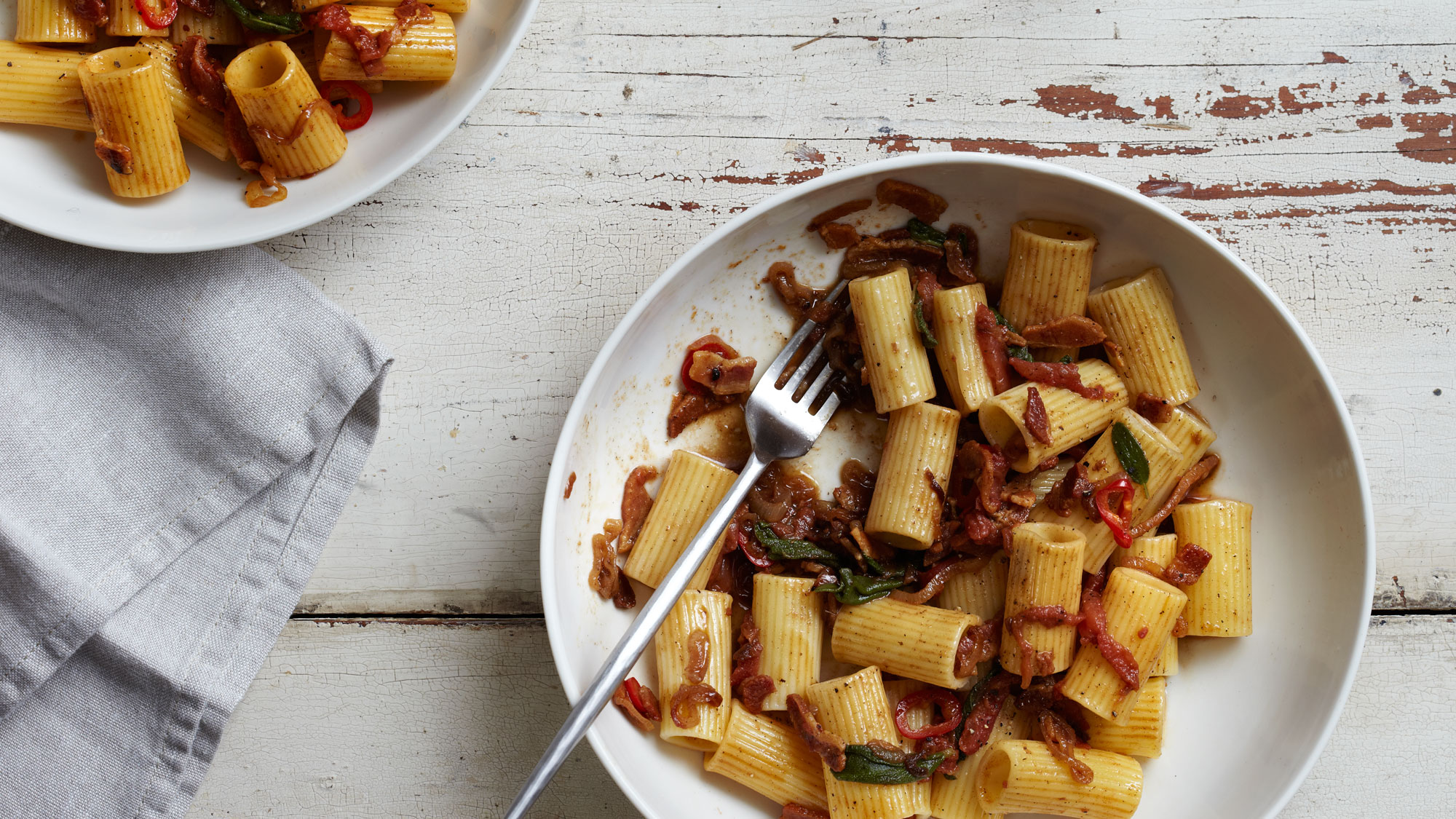 Pasta with Pancetta Shallots and Sage