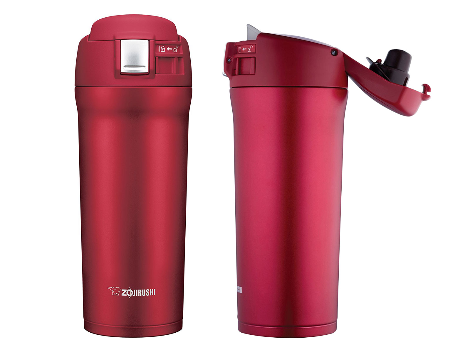 cherry red travel mug