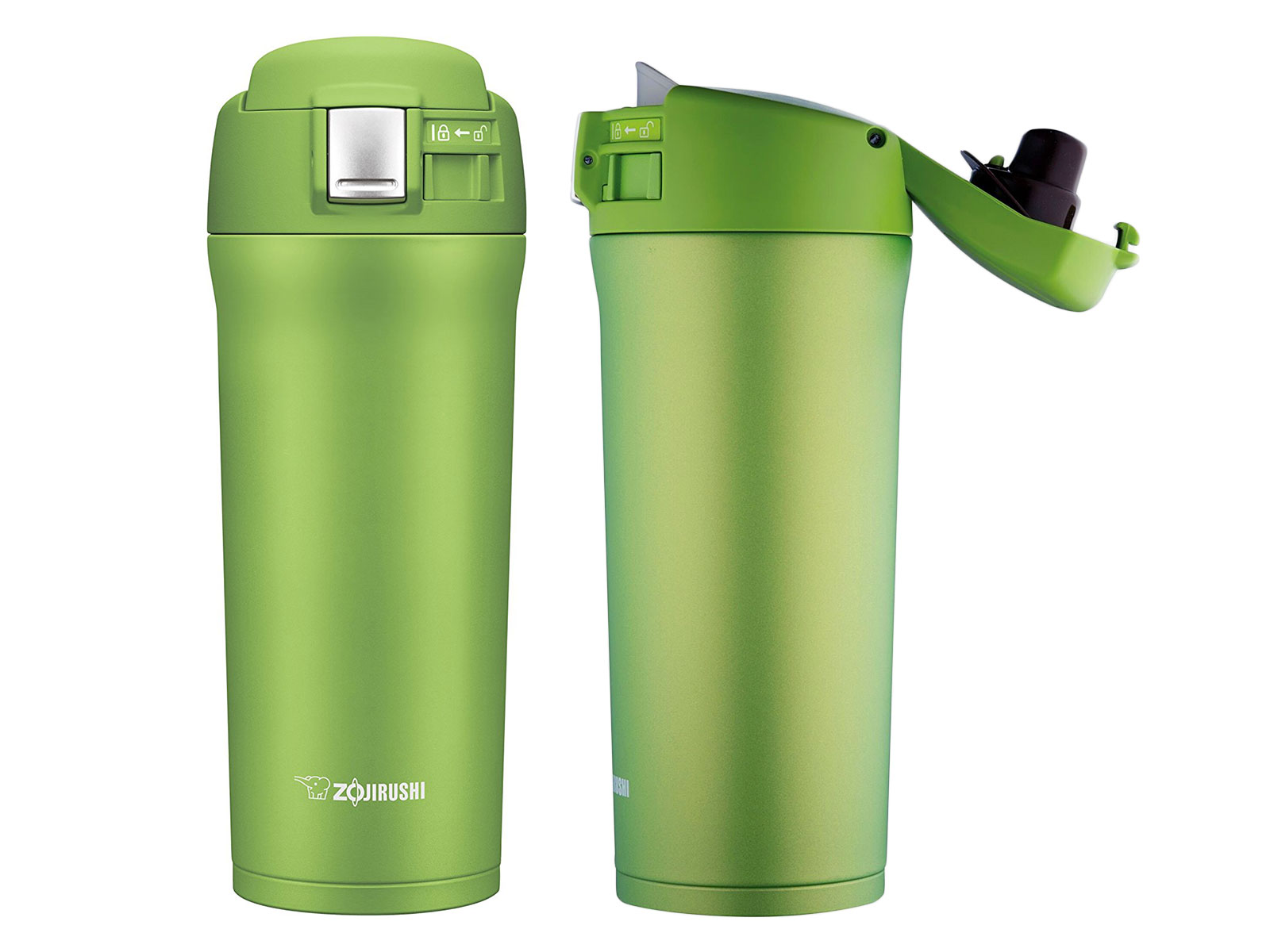 lime green travel mug