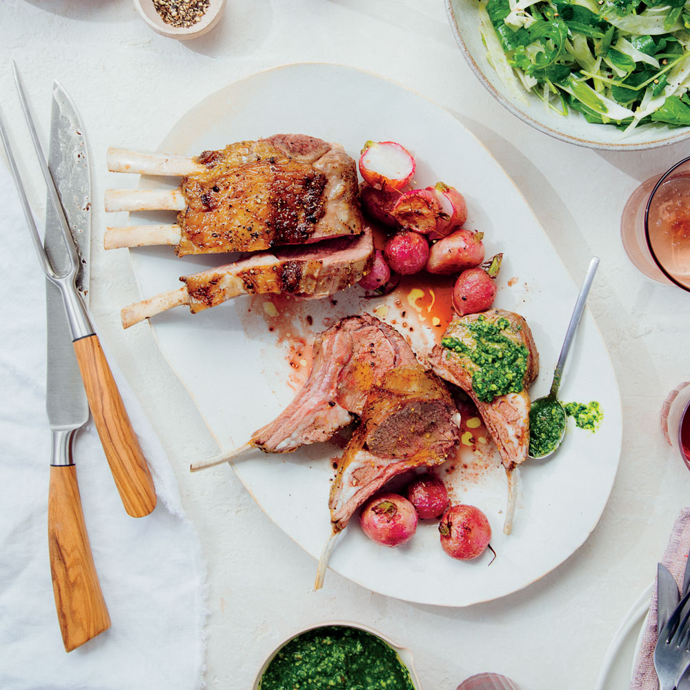 Fennel Pollen–Roasted Rack of Lamb with Radish Leaf Pesto