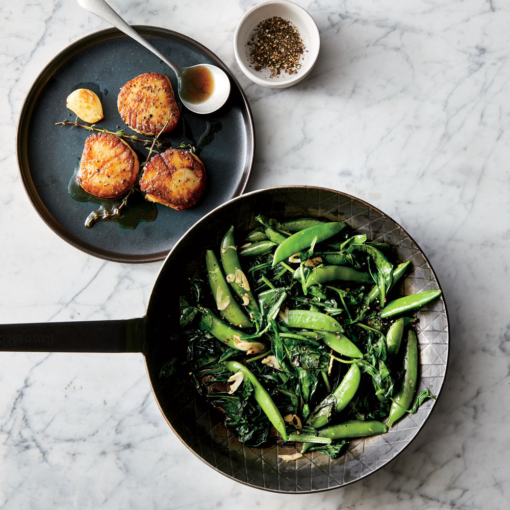 Butter-Basted Scallops with Spring Greens and Snap Peas