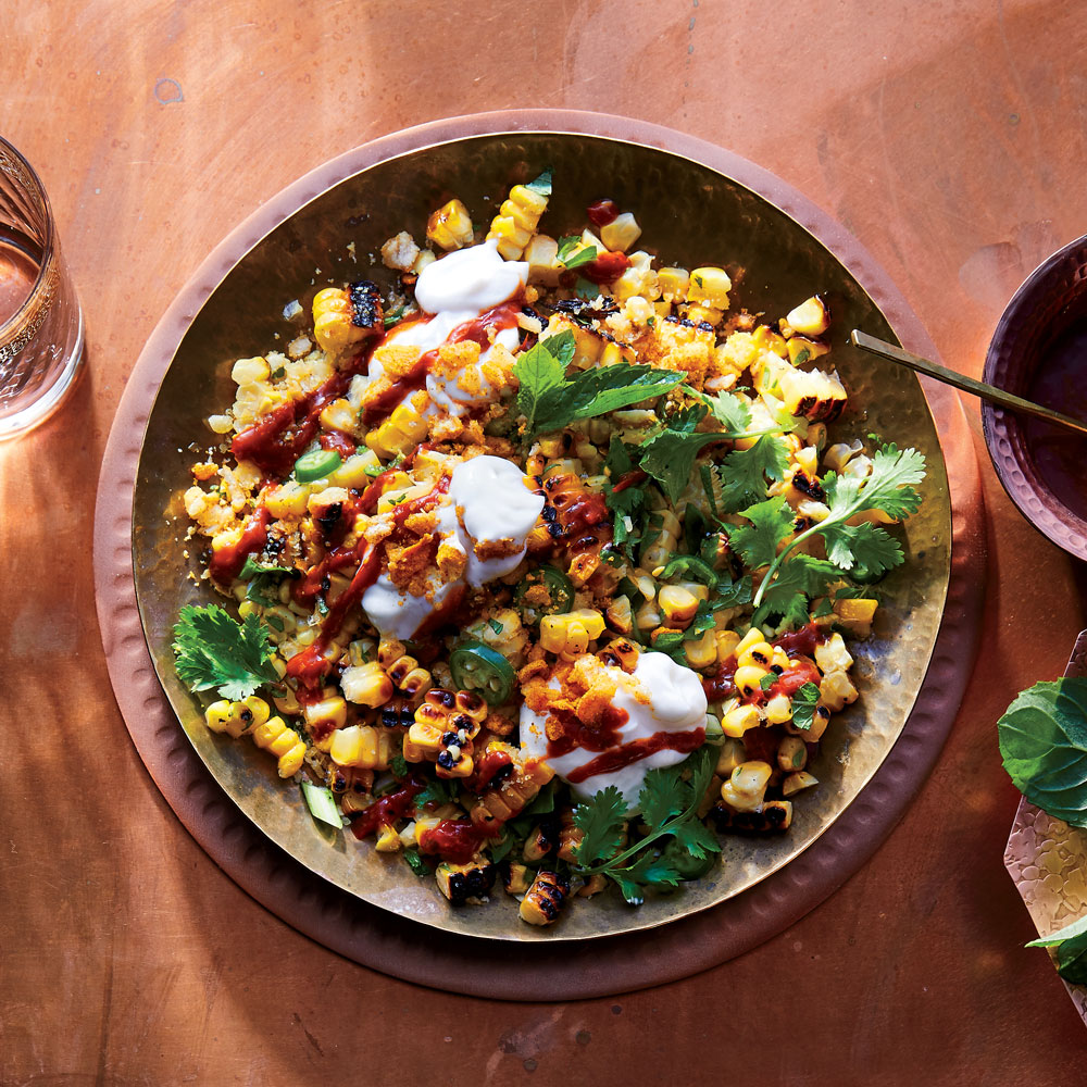 Corn Chaat with Tomato-Tamarind Chutney