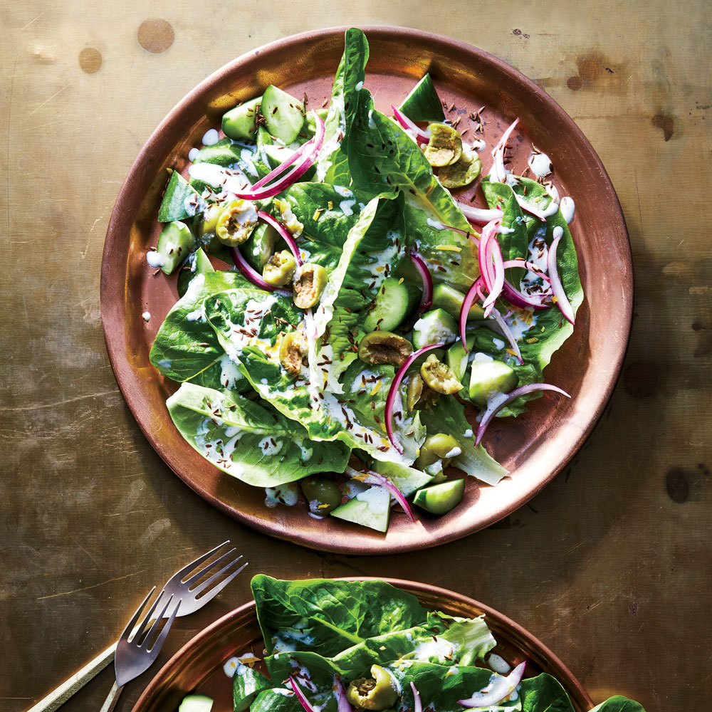 Romaine Salad with Cracked Olives and Salted-Lemon Yogurt
