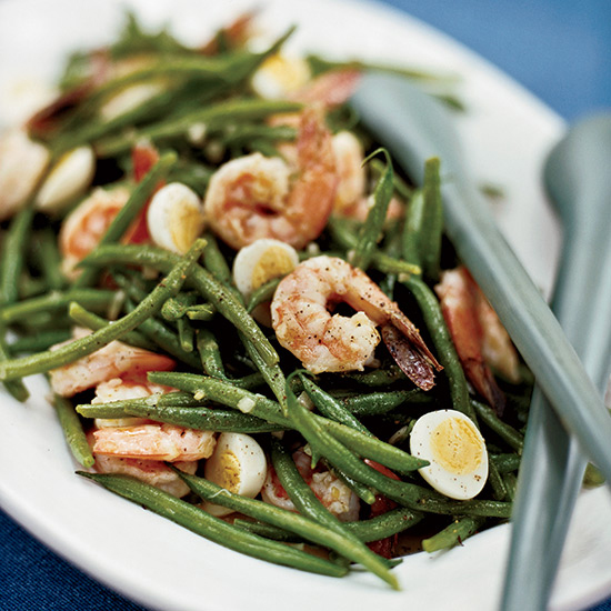Haricot Vert Salad with Quail Eggs and Shrimp Recipe ...