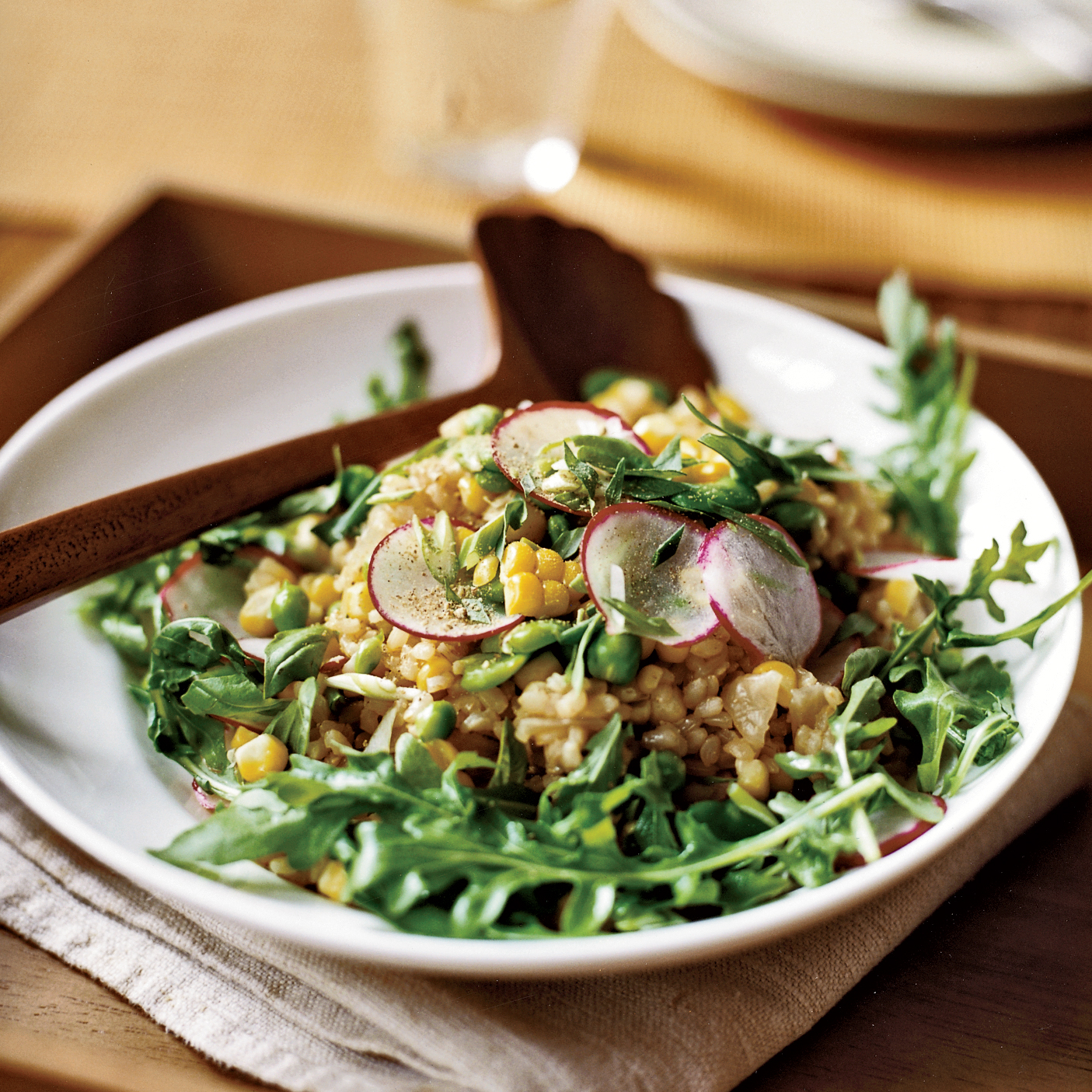 Herbed Brown Rice Salad with Corn, Fava Beans and Peas Recipe - Cyril ...