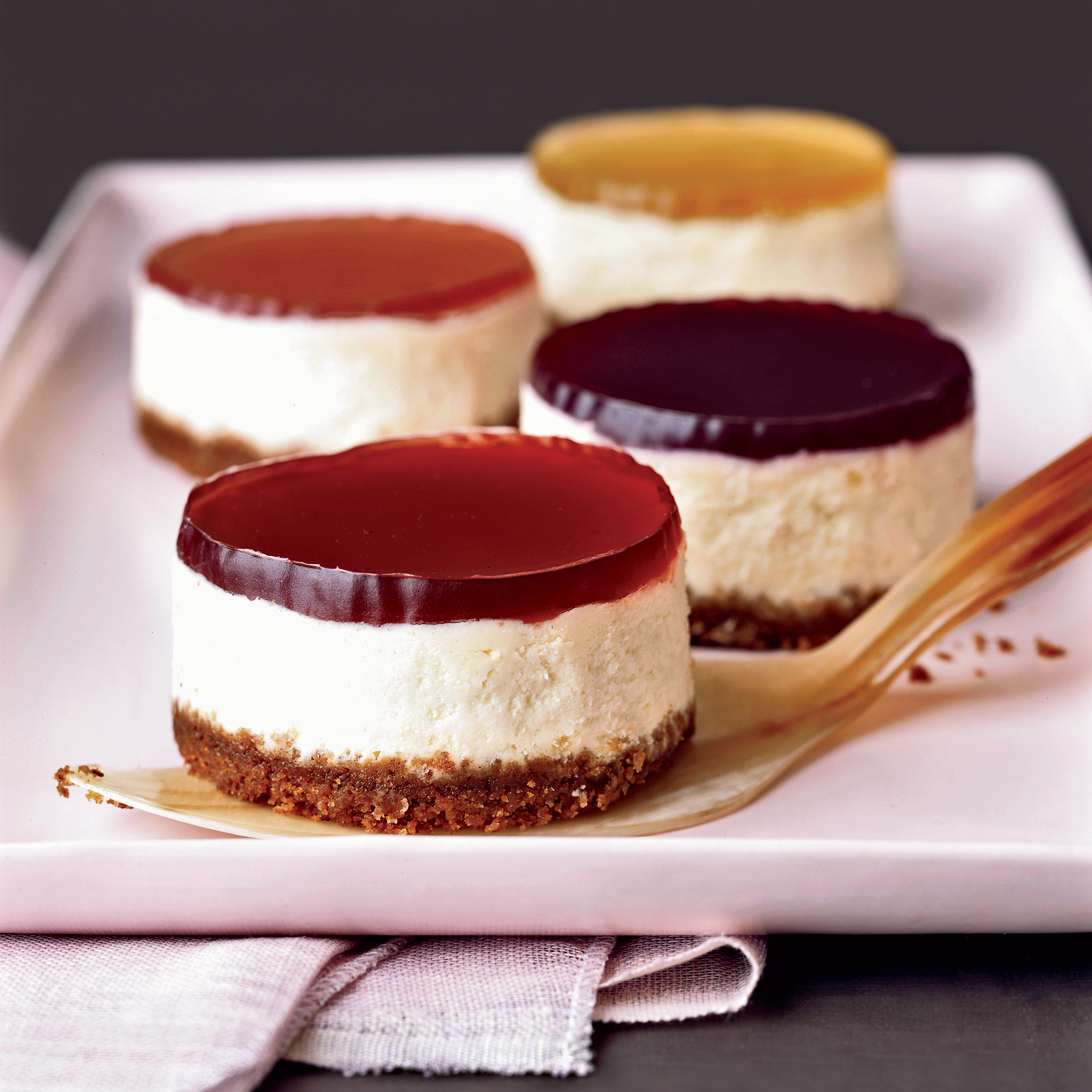 Mini Cheesecakes with Wine Gelées Recipe - Kate Zuckerman ...
