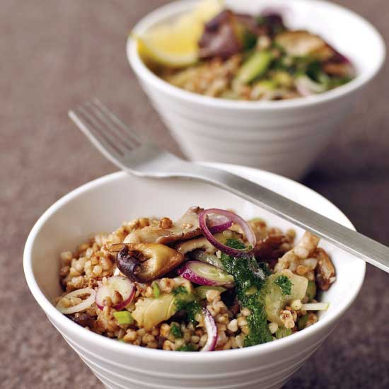 Buckwheat Salad with Mushrooms and Parsley Oil