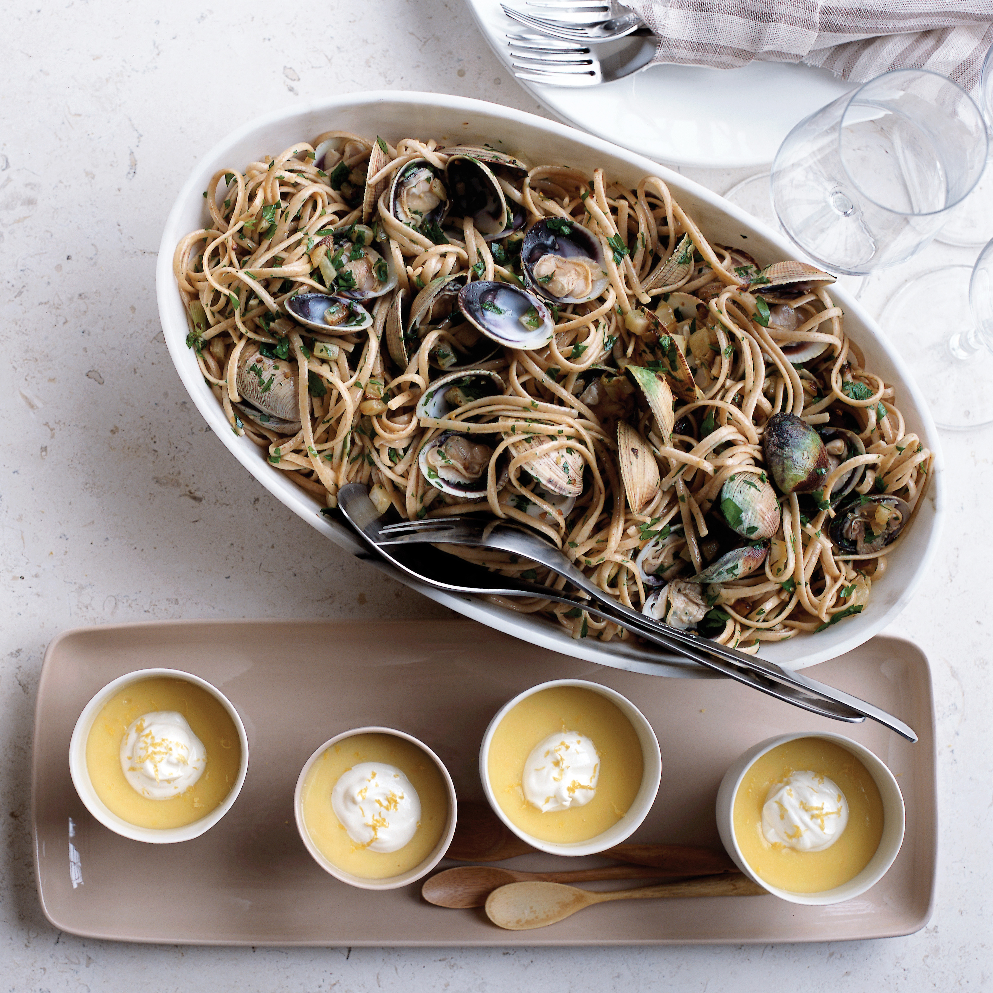 Whole Wheat Linguine with Manila Clams and Baby Fennel Recipe - Dede ...