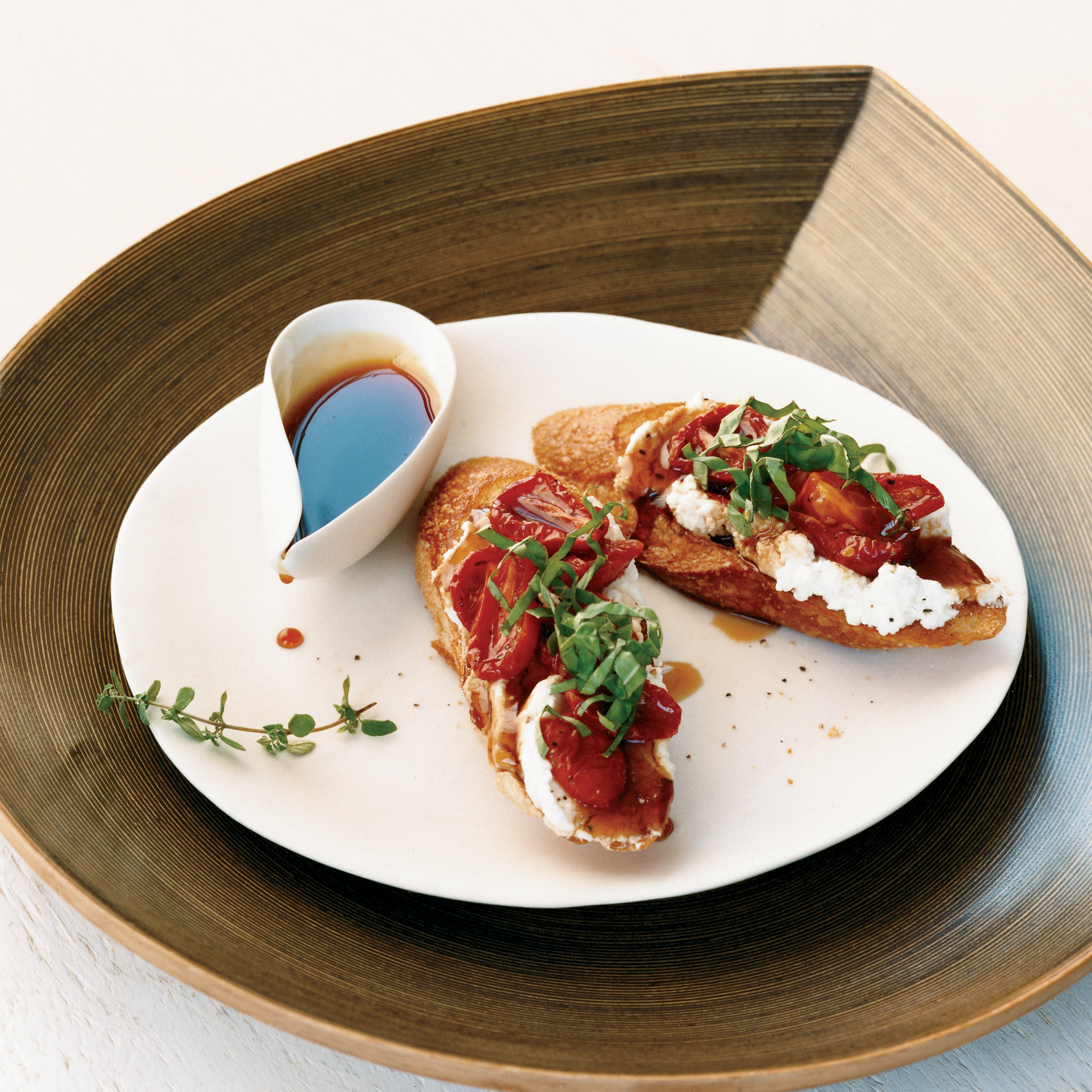 Honey-Tomato Bruschetta with Ricotta Recipe - Susan Spungen | Food ...