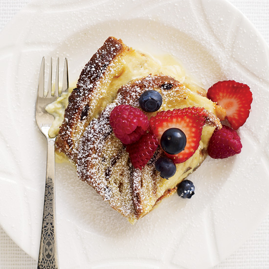 Cinnamon-Raisin Bread Custard with Fresh Berries