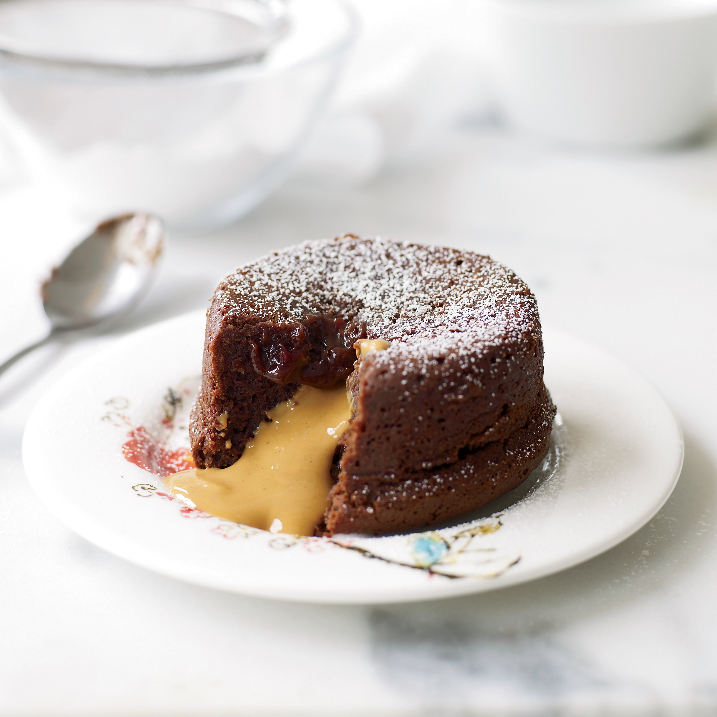 Molten Chocolate Cake with Peanut Butter Filling Recipe - Grace Parisi ...