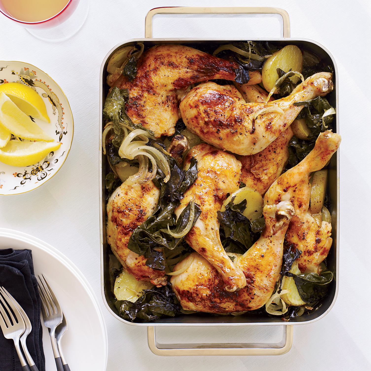 Food & Wine: Roasted Chicken Legs With Potatoes And Kale
