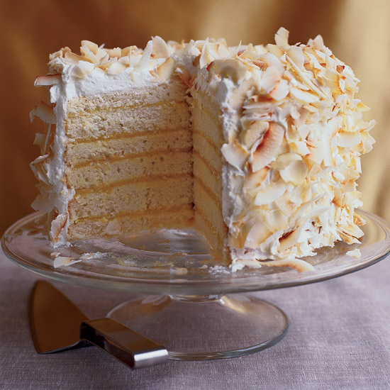 Six-Layer Coconut Cake with Passion Fruit Filling