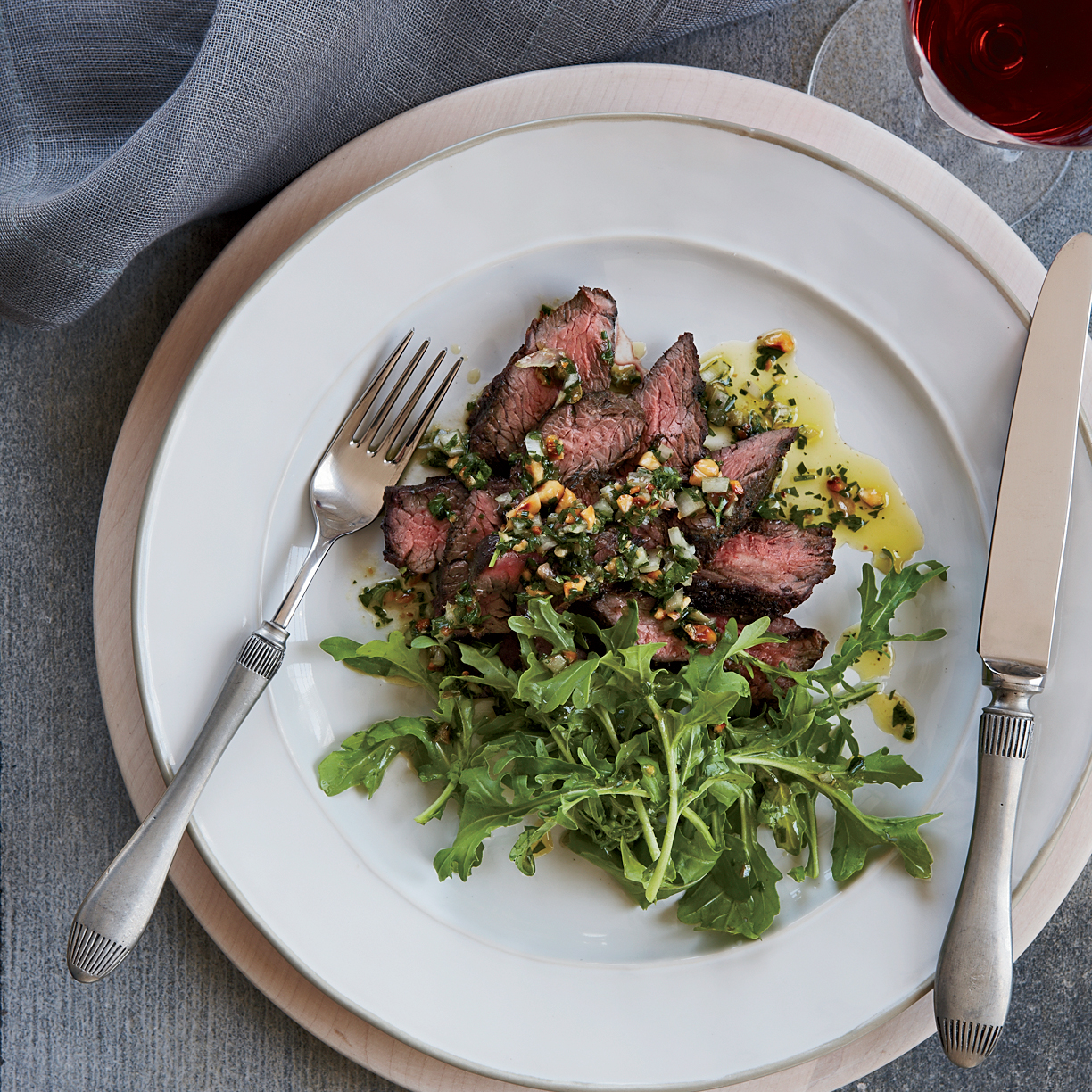 Hanger Steak With Grilled Salsa