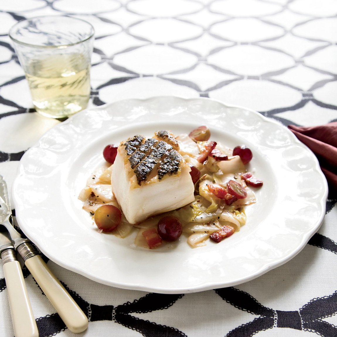 Pan-Seared Black Sea Bass with Endives and Grapes Recipe ...