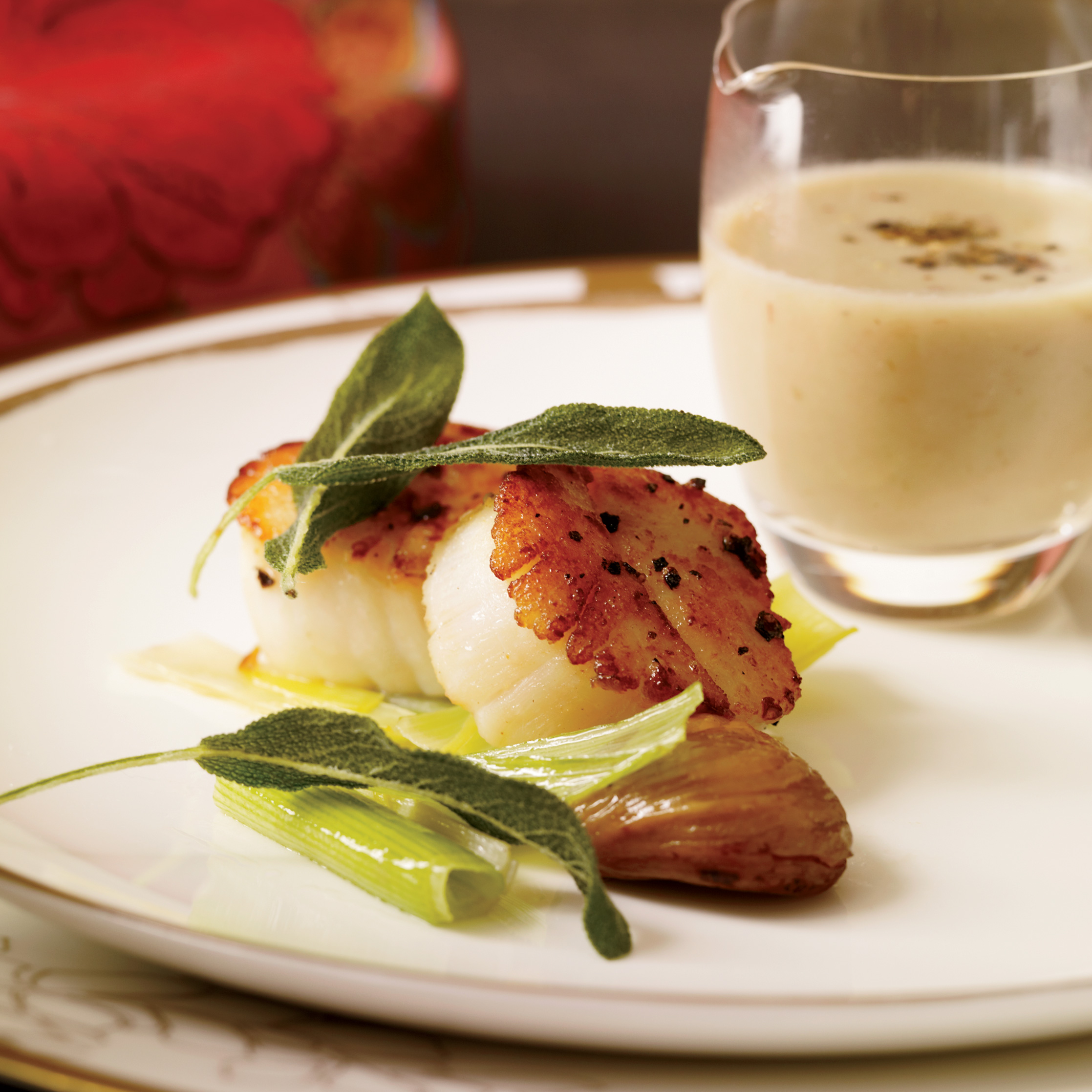 Scallops With Chestnut Sauce And Crisp Sage Recipe