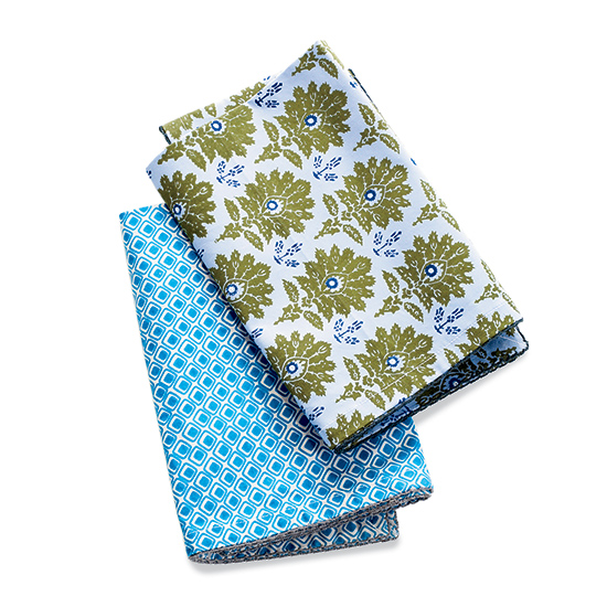 Plover Organic's Blue Ottoman and Teal Squares patterns.
