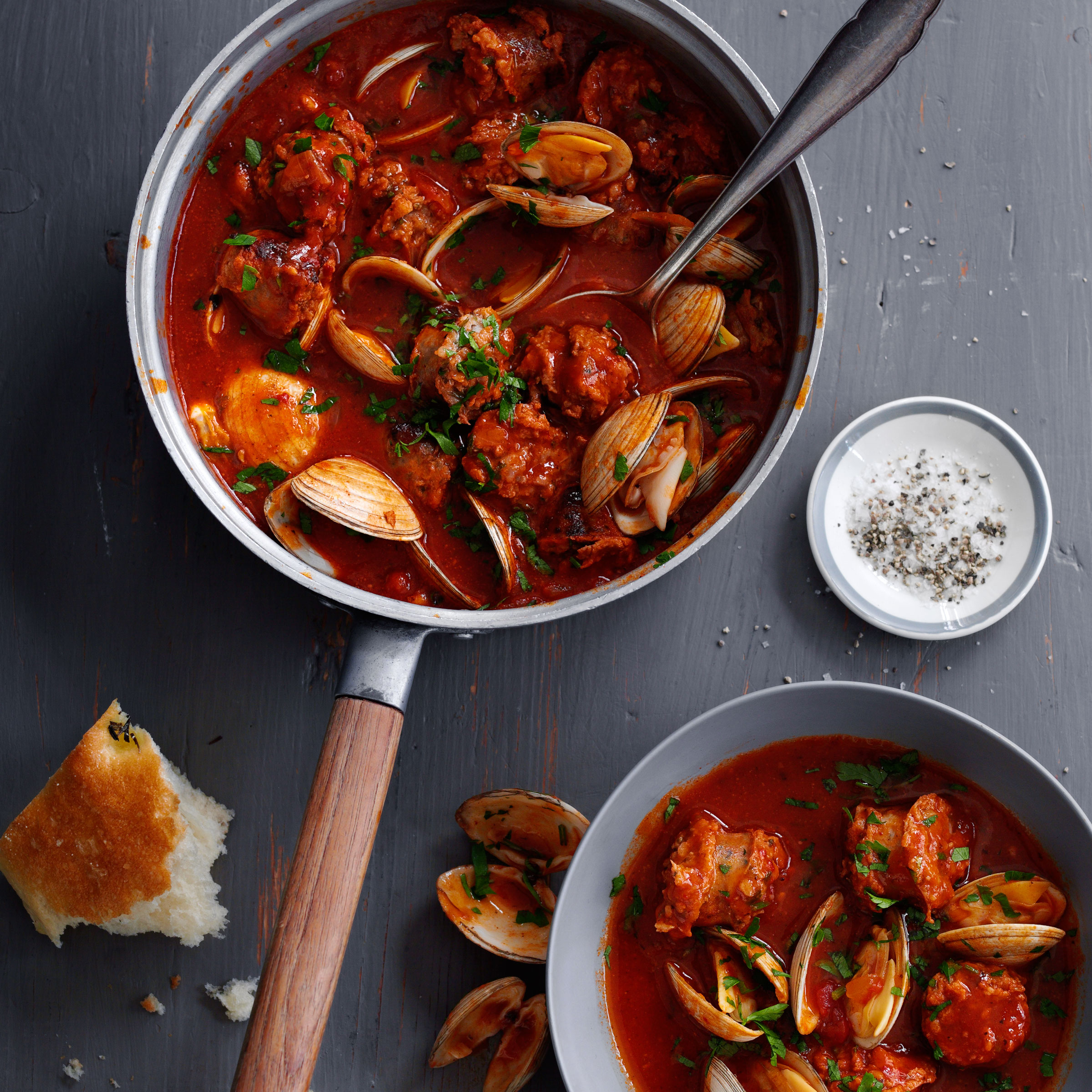 Cataplana Stew with Sausage and Clams Recipe - Quick From Scratch Fish ...