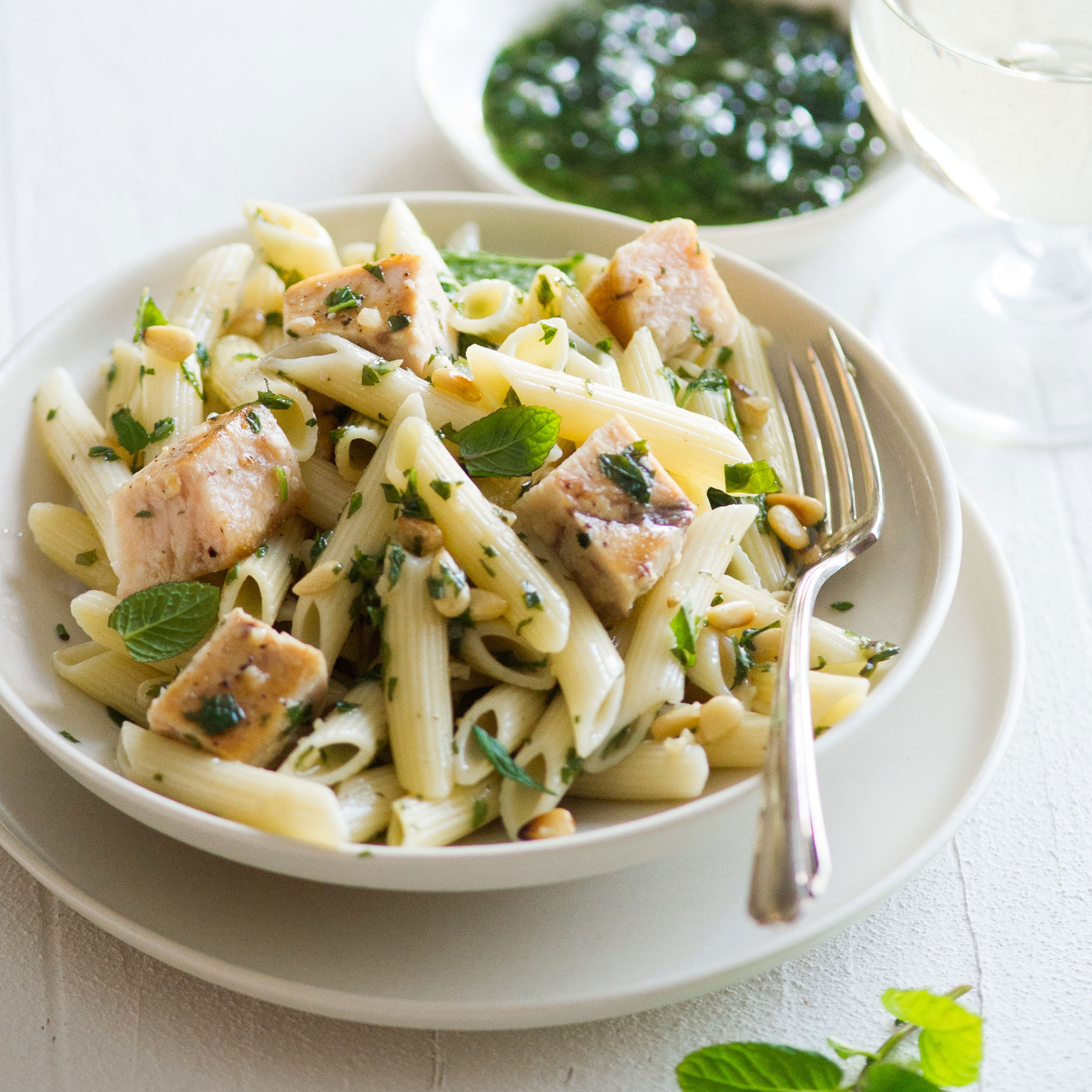 Penne with Swordfish, Mint, and Pine Nuts Recipe - Quick ...