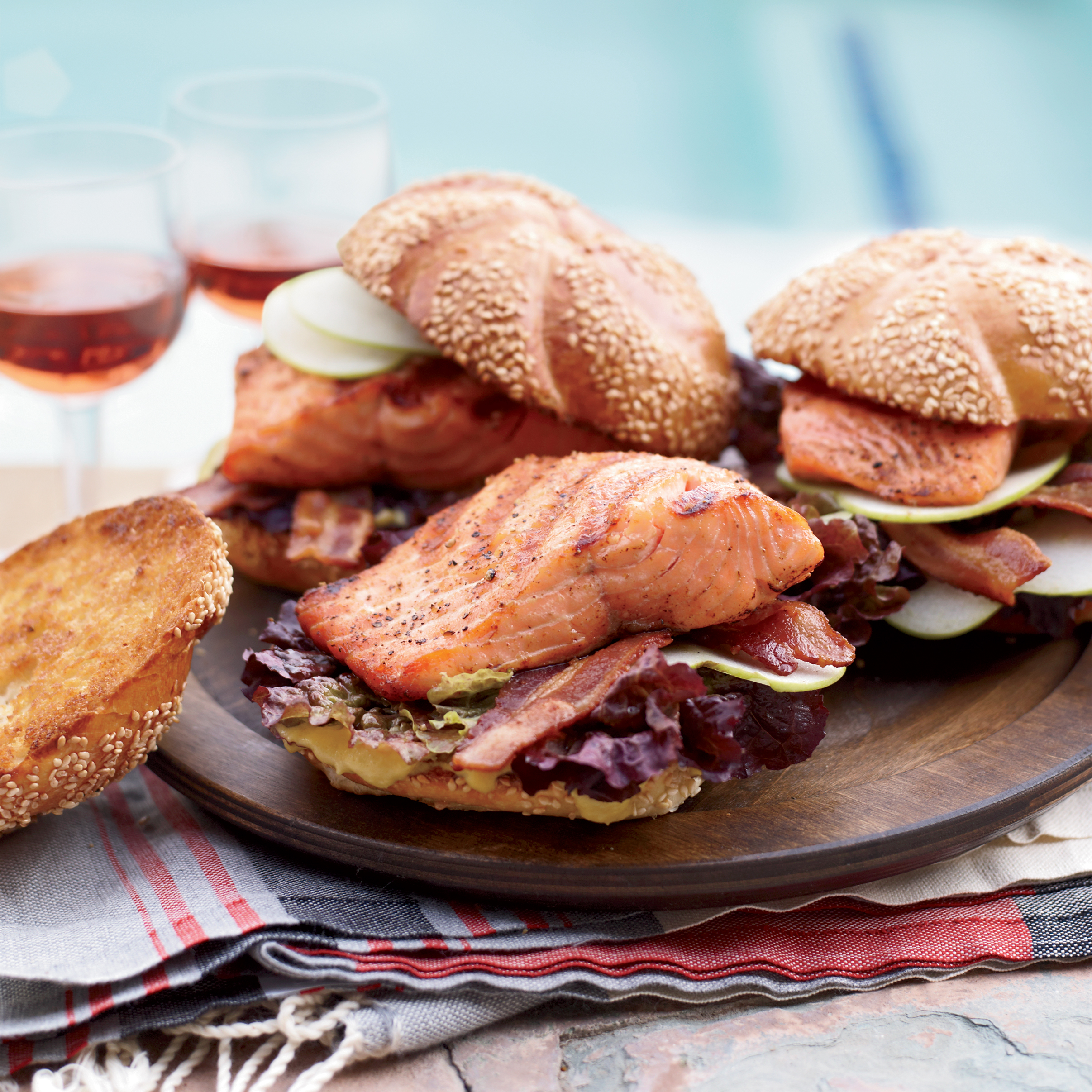 Grilled Glazed-Salmon Sandwiches with Bacon Recipe ...