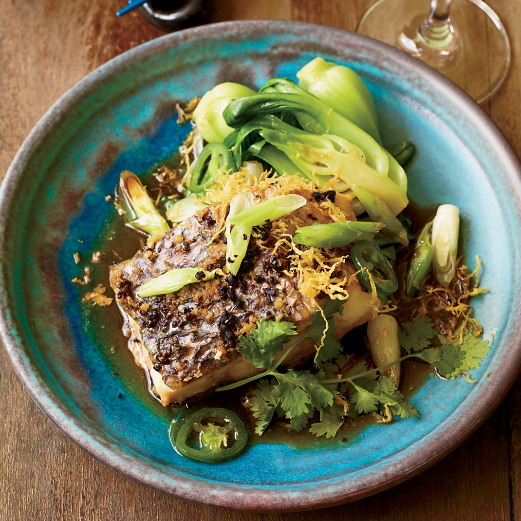 Steamed Wild Striped Bass with Ginger and Scallions Recipe - Andrea ...