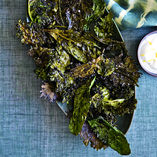 Day 24: Crispy Kale with Lemon-Yogurt Dip