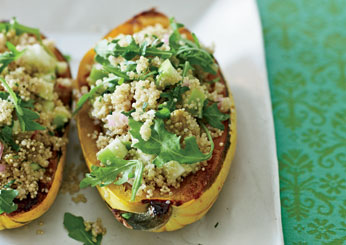 Vegetarian Thanksgiving: Roasted Delicata Squash with Quinoa Salad