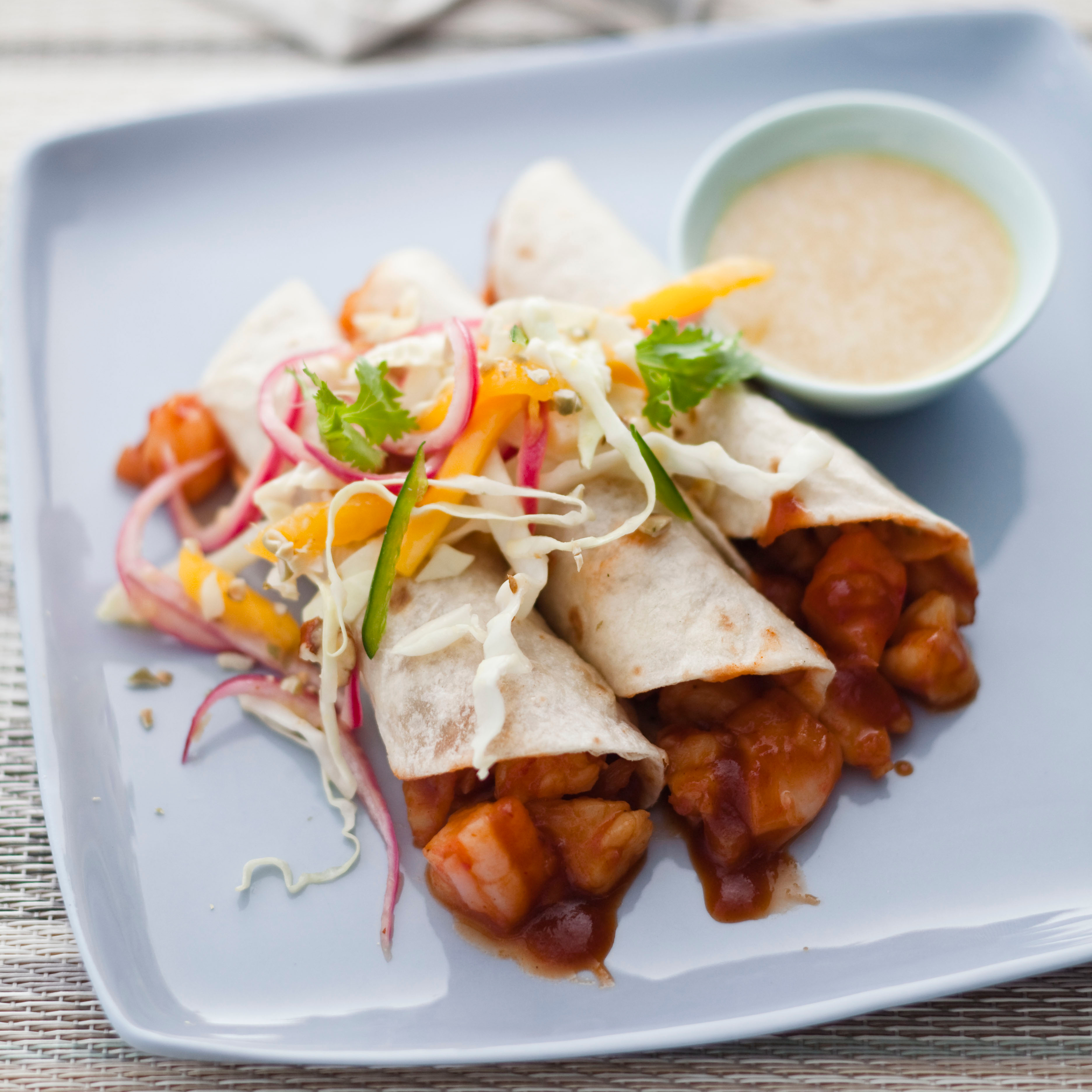 Shrimp Tacos with Pickled-Red-Onion Salad Recipe - Dean Fearing | Food ...