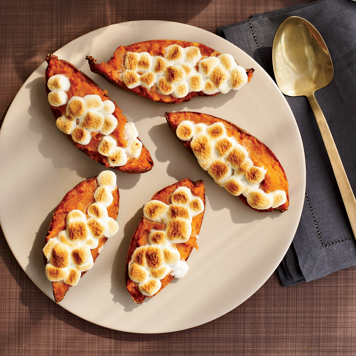 Twice-Baked Sweet Potatoes with Toasted Marshmallows Recipe