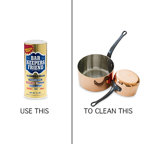 Kitchen Cleaning Tips: Bar Keepers Friend  for scouring copper pots.
