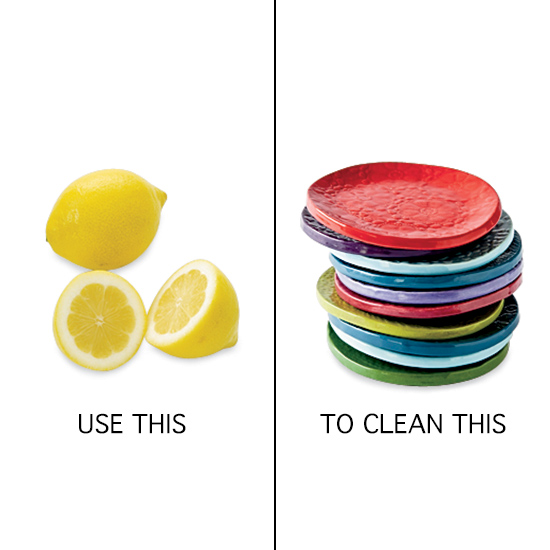 Kitchen Cleaning Tips: rub dishes with lemons