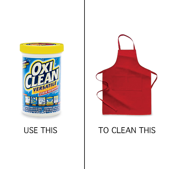 Kitchen Cleaning Tips: soak aprons in OxiClean.