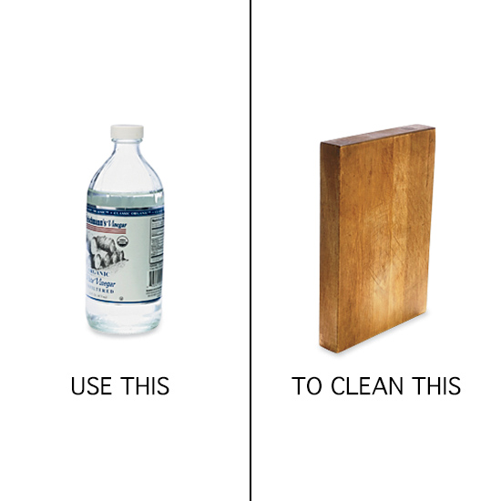 Kitchen Cleaning Tips: disinfect cutting boards with vinegar.