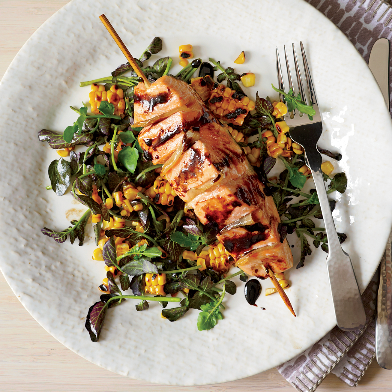 Food Wine: Gingered Salmon With Grilled Corn And Watercress Salad