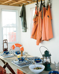 Brick French blue dish towels