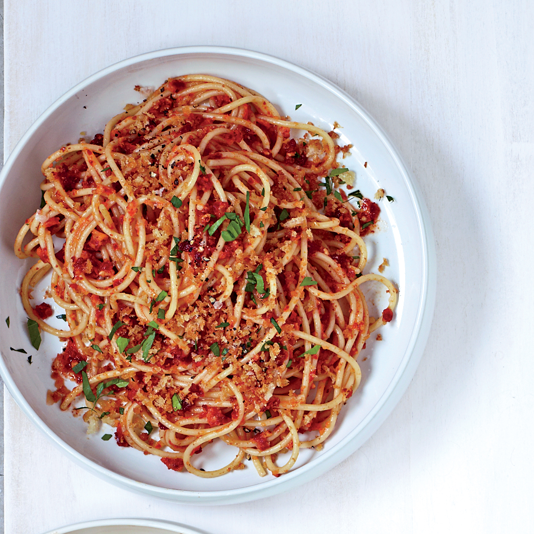 Spaghetti with Sun-Dried-Tomato-Almond Pesto Recipe - Marcie Turney ...