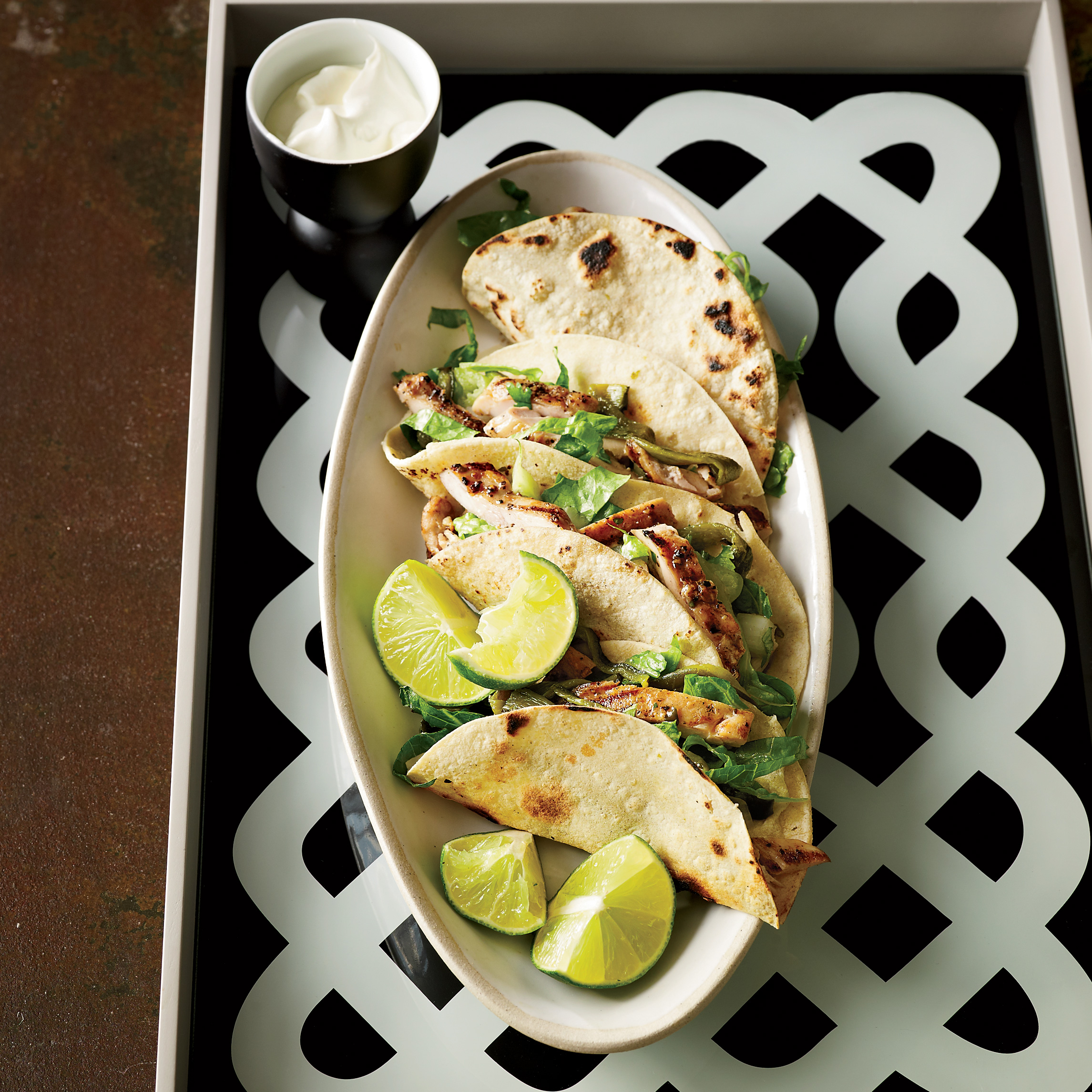 Chicken Amp Poblano Tacos With Crema Recipe Justin Large