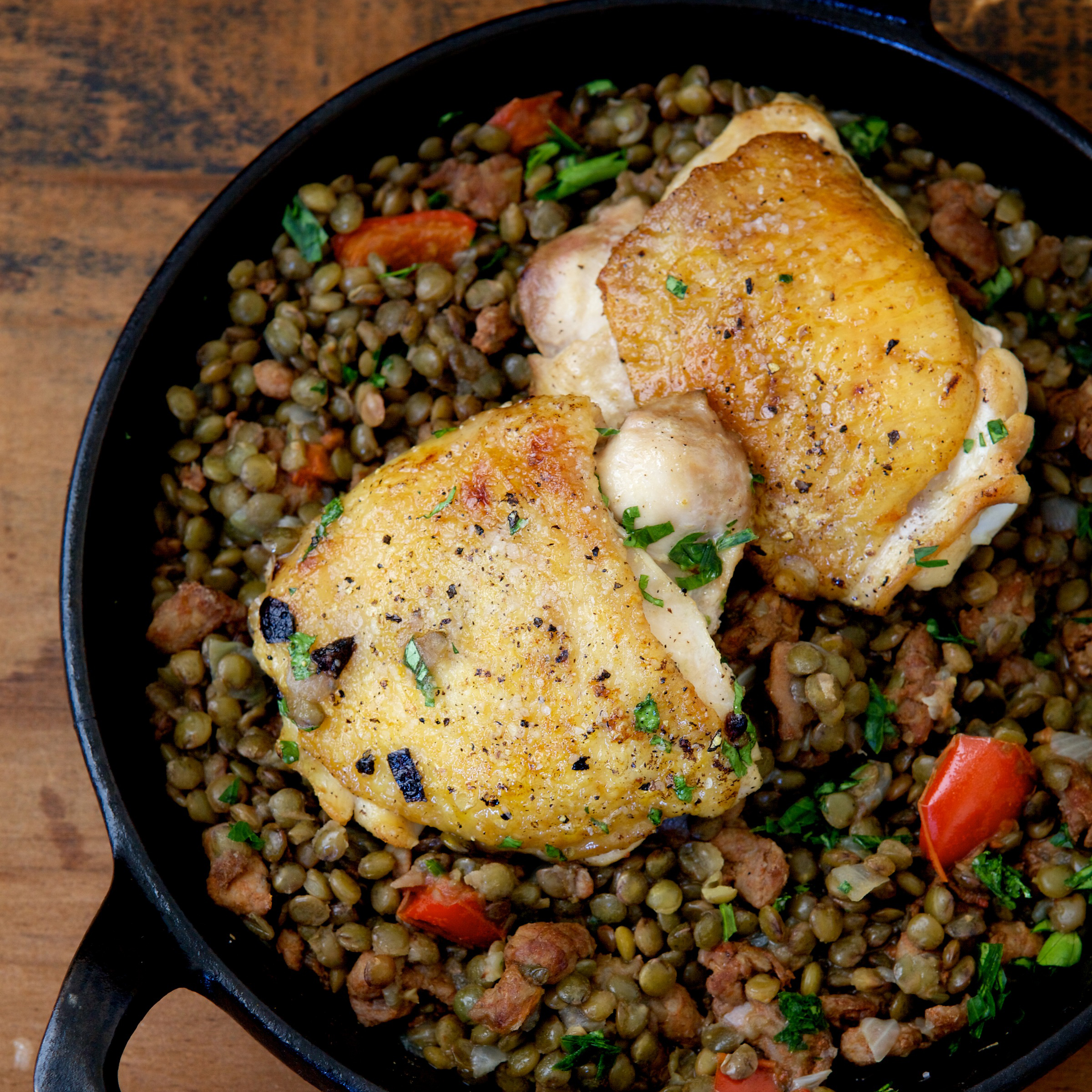 chicken thighs with lentils chorizo and red pepper