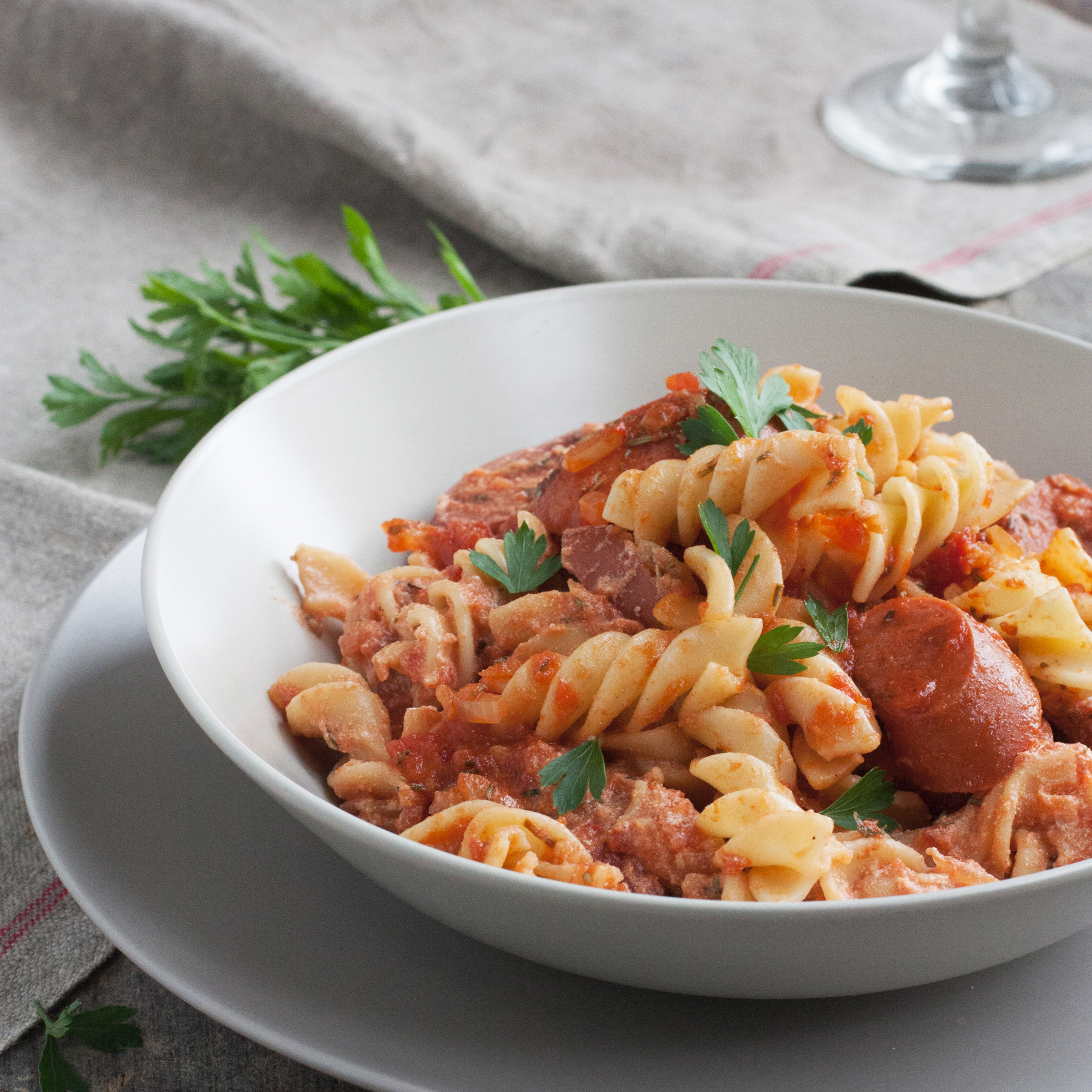 Fusilli with Spicy Chicken Sausage, Tomato, and Ricotta Cheese Recipe ...