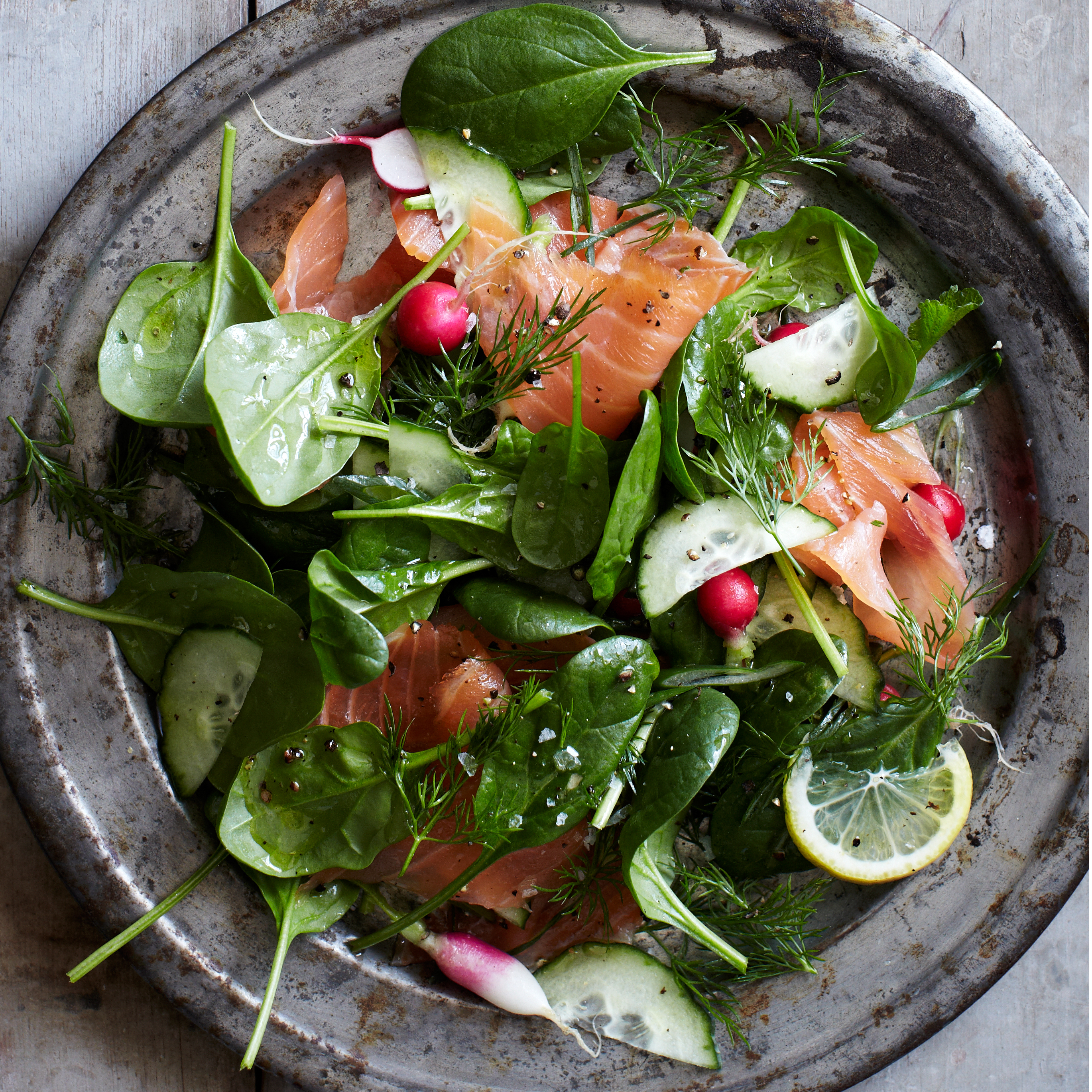 Spinach and Smoked Salmon Salad with Lemon-Dill Dressing Recipe ...