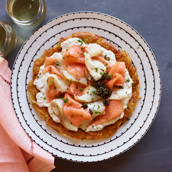 Crispy Potato Galette with Smoked Fish and Dill Crème