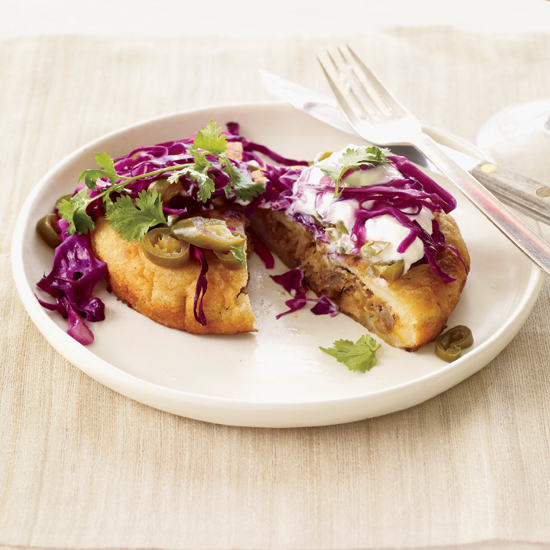 Mexican Recipes: Pork-and-Cheese Arepas with Tangy Cabbage Slaw