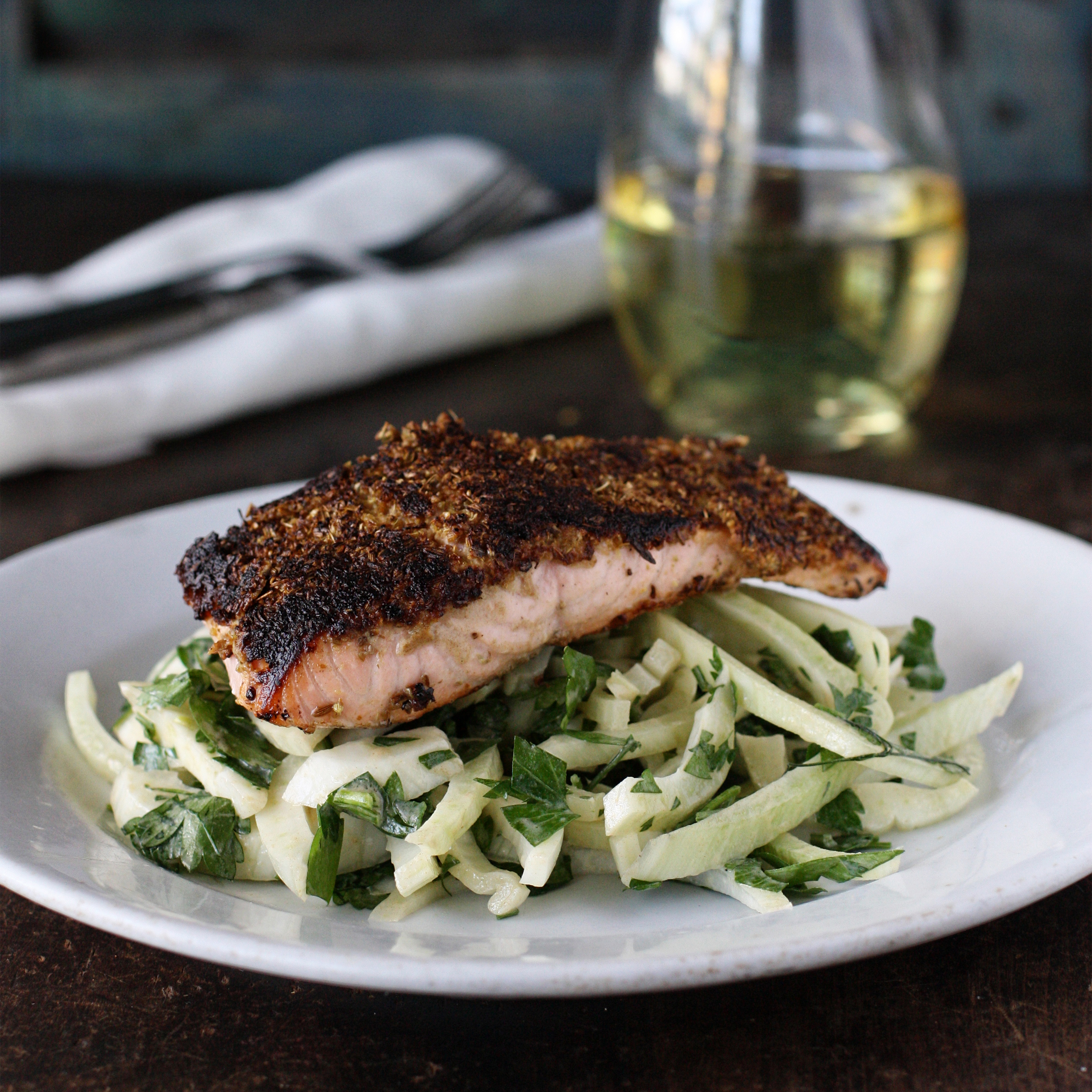 Cumin-Fennel Rubbed Salmon with Fennel-Parsley Salad Recipe - Grace ...