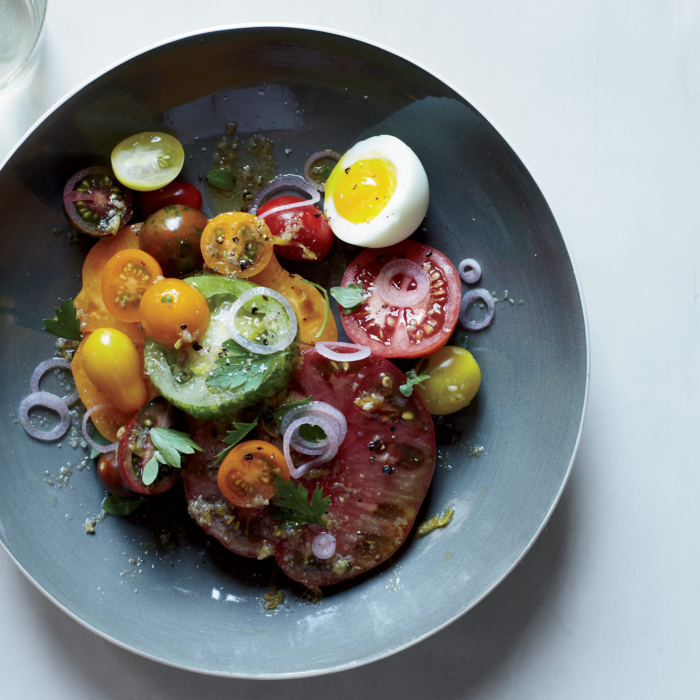 Heirloom Tomato Salad with Anchovy Vinaigrette Recipe | Food & Wine
