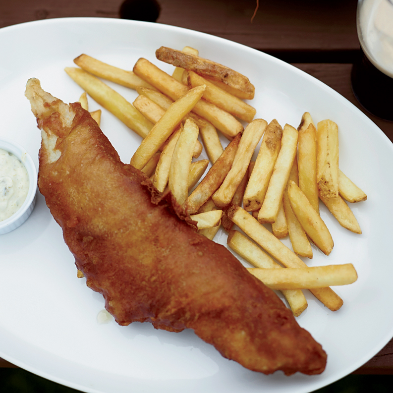 Fried Beer Battered Fish And Chips With Dilled Tartar